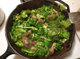 morels and greens